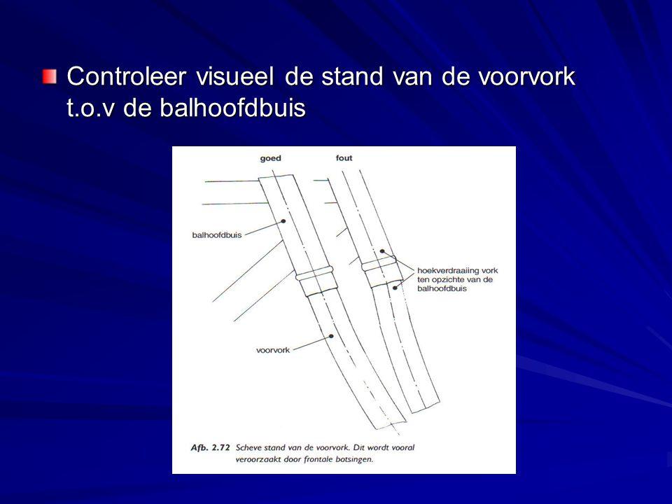 Controleer het balhoofdlager Controleer de stand van de balhoofdbuis t.o.v de zitbuis