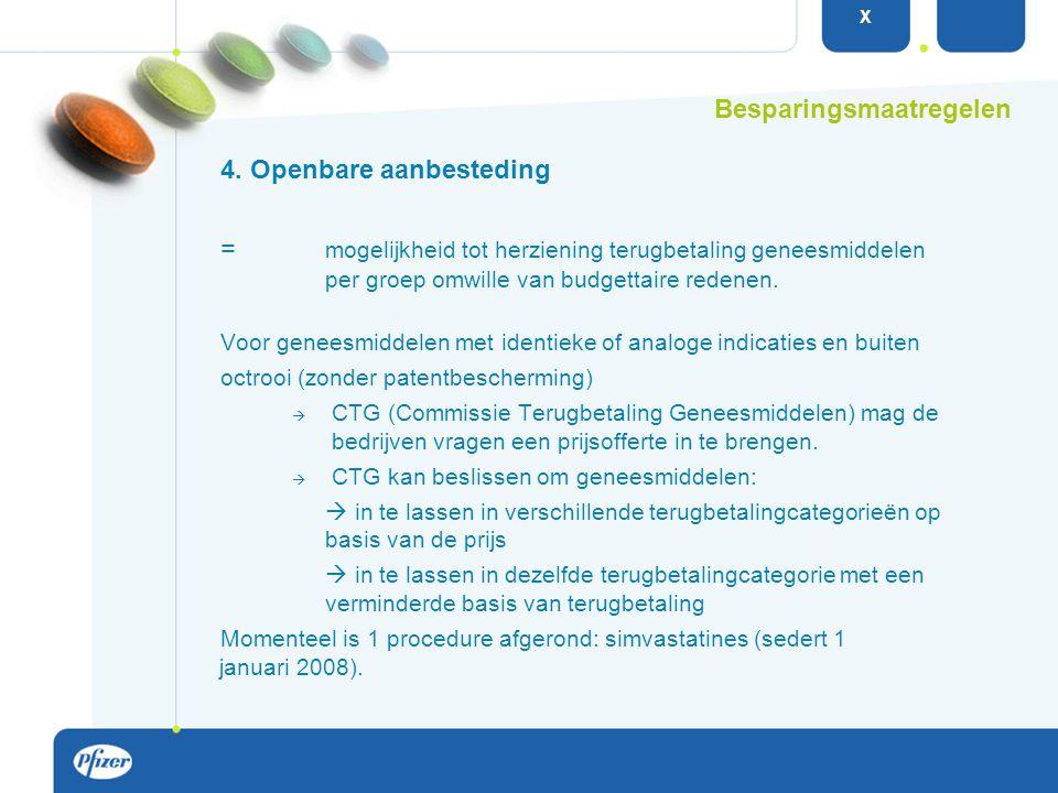 4. Openbare aanbesteding = mogelijkheid tot herziening terugbetaling geneesmiddelen per groep omwille van budgettaire redenen. Voor geneesmiddelen met