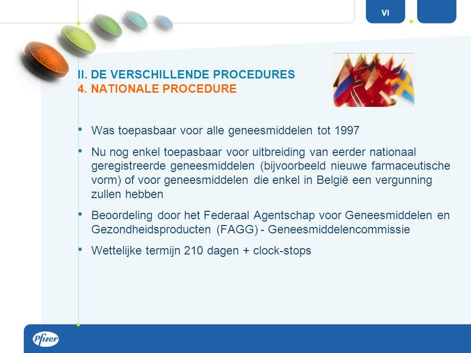 Was toepasbaar voor alle geneesmiddelen tot 1997 Nu nog enkel toepasbaar voor uitbreiding van eerder nationaal geregistreerde geneesmiddelen (bijvoorbeeld nieuwe farmaceutische vorm) of voor geneesmiddelen die enkel in België een vergunning zullen hebben Beoordeling door het Federaal Agentschap voor Geneesmiddelen en Gezondheidsproducten (FAGG) - Geneesmiddelencommissie Wettelijke termijn 210 dagen + clock-stops II.