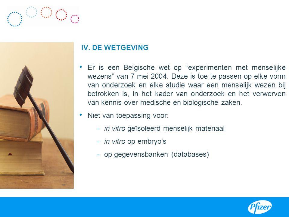 """IV. DE WETGEVING Er is een Belgische wet op """"experimenten met menselijke wezens"""" van 7 mei 2004. Deze is toe te passen op elke vorm van onderzoek en e"""