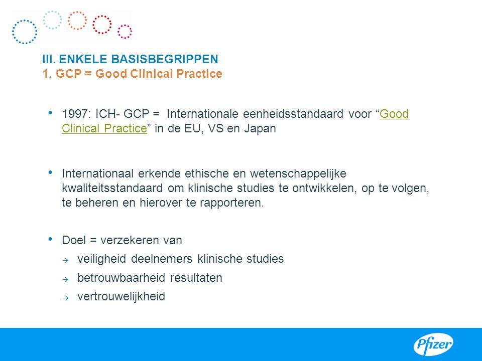"""1997: ICH- GCP = Internationale eenheidsstandaard voor """"Good Clinical Practice"""" in de EU, VS en JapanGood Clinical Practice Internationaal erkende eth"""