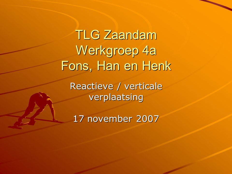 TLG Zaandam Werkgroep 4a Fons, Han en Henk Reactieve / verticale verplaatsing 17 november 2007