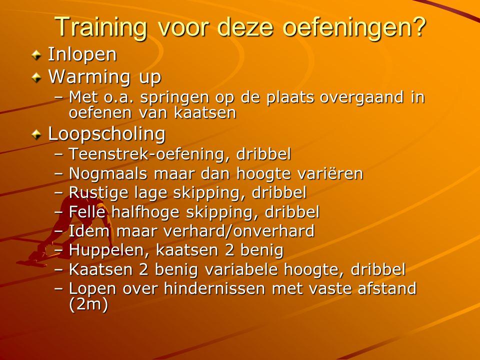 Training voor deze oefeningen? Inlopen Warming up –Met o.a. springen op de plaats overgaand in oefenen van kaatsen Loopscholing –Teenstrek-oefening, d