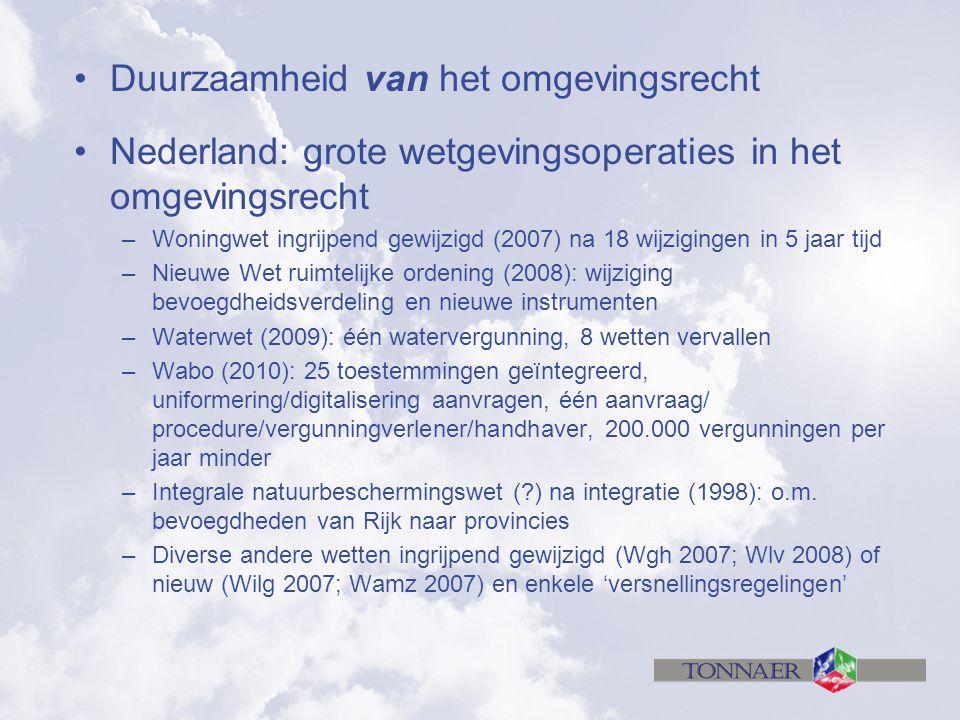 Duurzaamheid van het omgevingsrecht Nederland: grote wetgevingsoperaties in het omgevingsrecht –Woningwet ingrijpend gewijzigd (2007) na 18 wijziginge