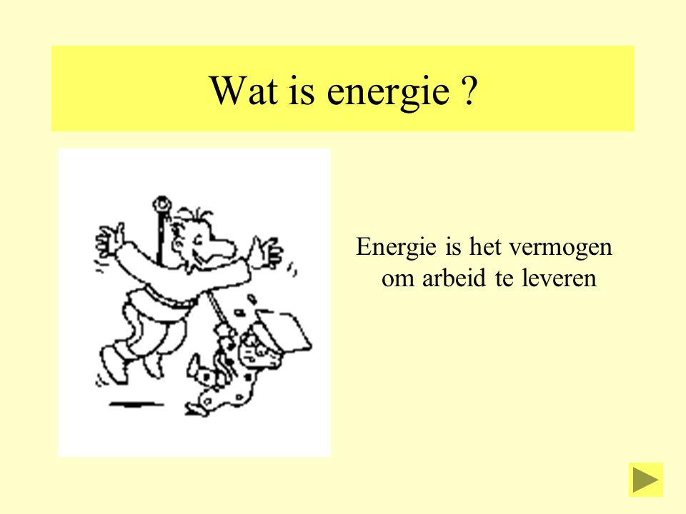 Wat is energie ? Energie is het vermogen om arbeid te leveren