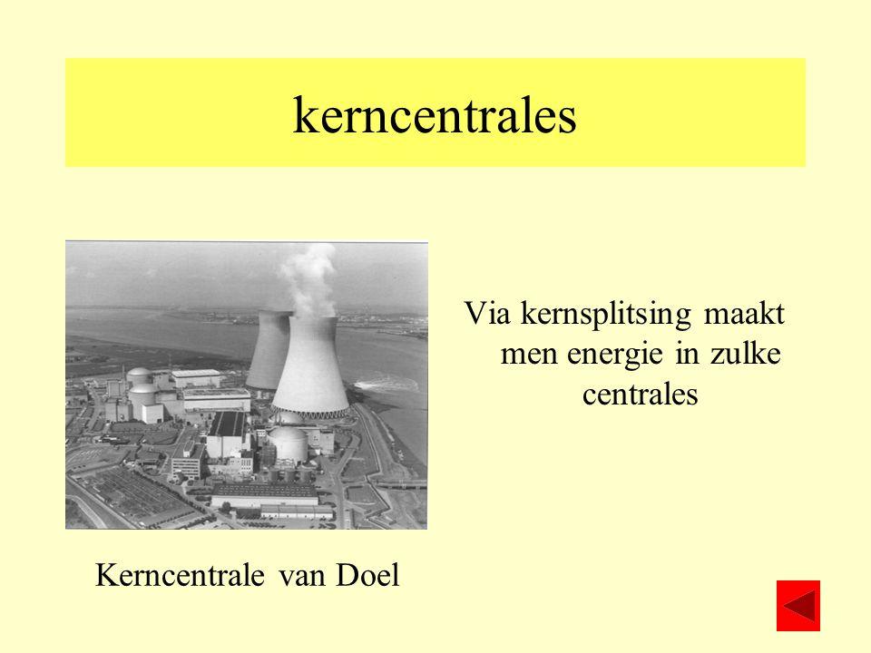 kerncentrales Via kernsplitsing maakt men energie in zulke centrales Kerncentrale van Doel