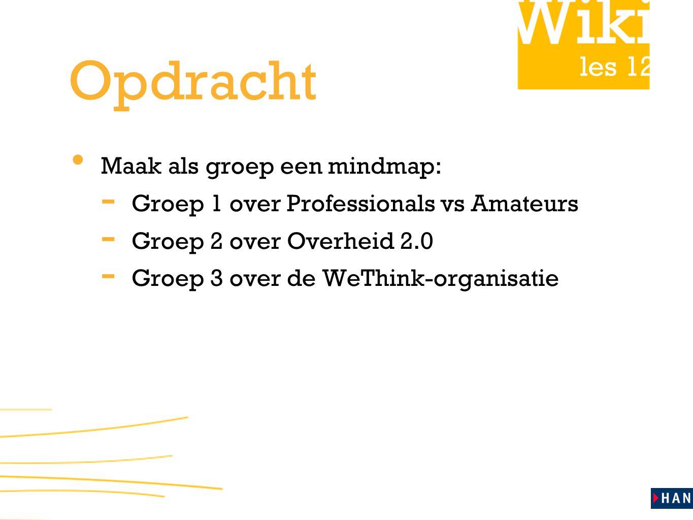 les 12 Opdracht Maak als groep een mindmap: - Groep 1 over Professionals vs Amateurs - Groep 2 over Overheid 2.0 - Groep 3 over de WeThink-organisatie