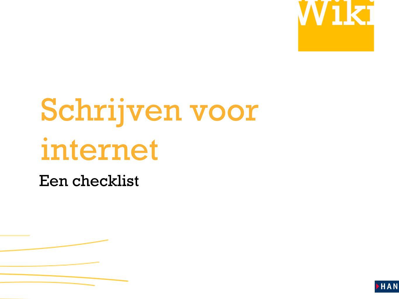 Een checklist Schrijven voor internet