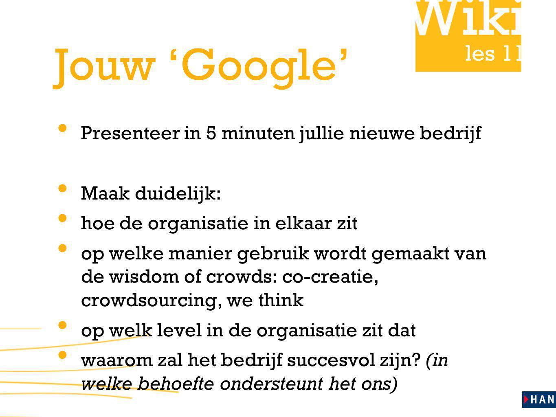 les 11 Jouw 'Google' Presenteer in 5 minuten jullie nieuwe bedrijf Maak duidelijk: hoe de organisatie in elkaar zit op welke manier gebruik wordt gema