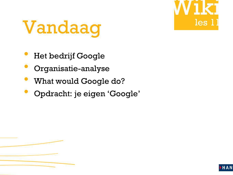 les 11 Vandaag Het bedrijf Google Organisatie-analyse What would Google do? Opdracht: je eigen 'Google'