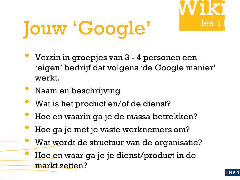les 11 Jouw 'Google' Presenteer in 5 minuten jullie nieuwe bedrijf Maak duidelijk: hoe de organisatie in elkaar zit op welke manier gebruik wordt gemaakt van de wisdom of crowds: co-creatie, crowdsourcing, we think op welk level in de organisatie zit dat waarom zal het bedrijf succesvol zijn.