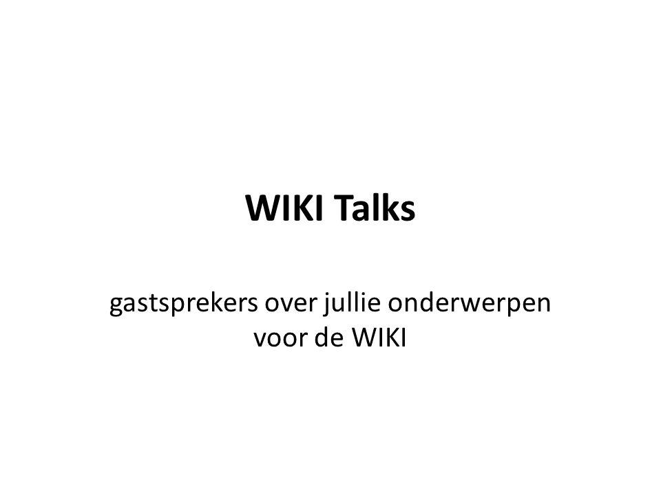 Opzet 1 uur WikiTalk half uur lunch 4 speeddate sessies van 20 minuten per sessie uit 2 klassen de groep die een Wiki schrijft over het onderwerp van de WikiTalk klas C1B en klas C1D samen in 1 sessie