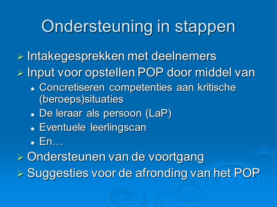 Ondersteuning in stappen  Intakegesprekken met deelnemers  Input voor opstellen POP door middel van Concretiseren competenties aan kritische (beroep