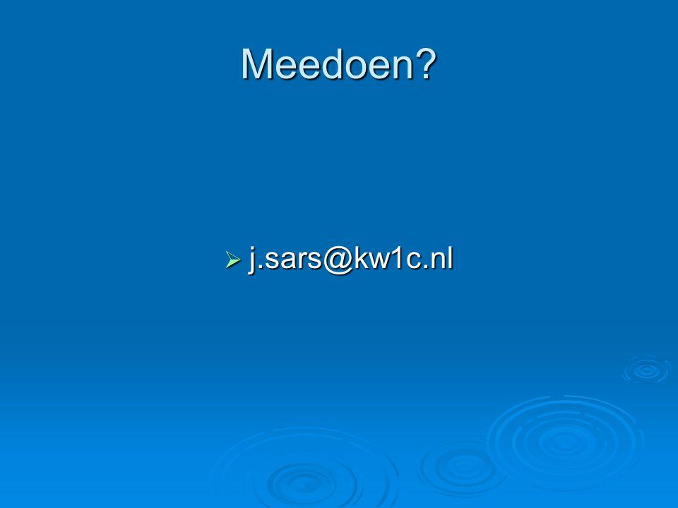 Meedoen?  j.sars@kw1c.nl