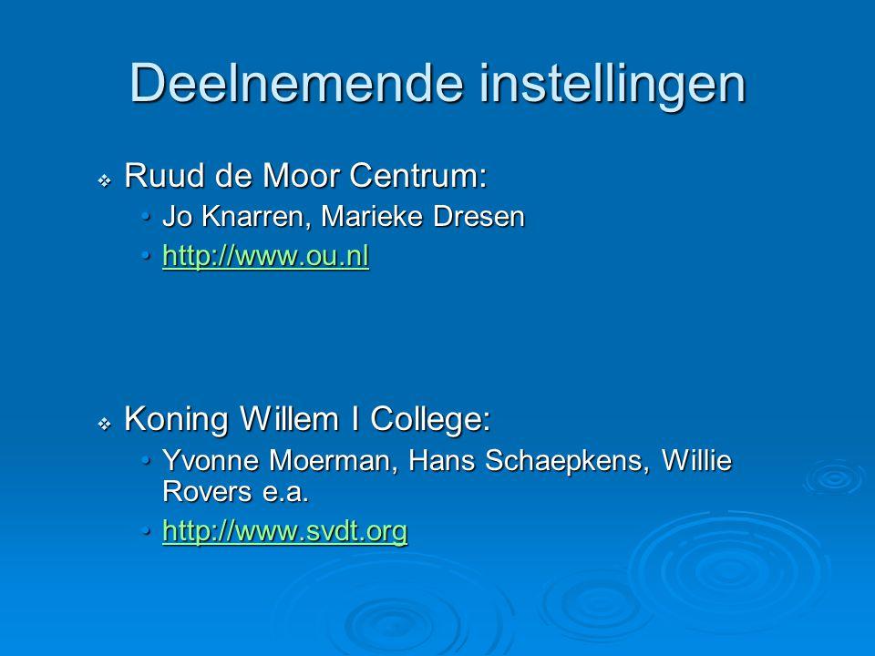Deelnemende instellingen  Ruud de Moor Centrum: Jo Knarren, Marieke DresenJo Knarren, Marieke Dresen http://www.ou.nlhttp://www.ou.nlhttp://www.ou.nl