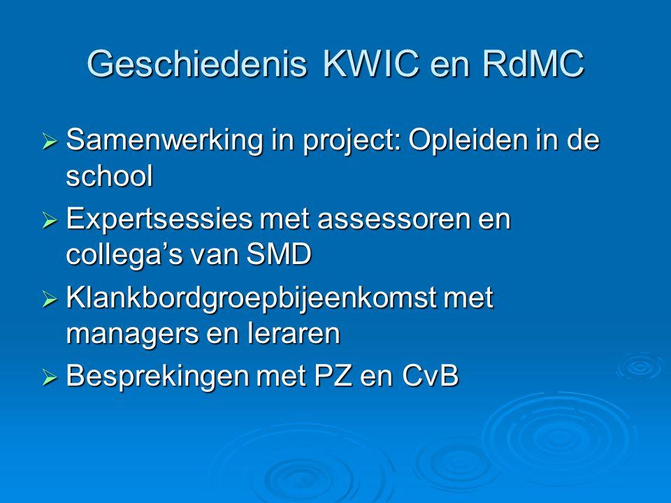 Geschiedenis KWIC en RdMC  Samenwerking in project: Opleiden in de school  Expertsessies met assessoren en collega's van SMD  Klankbordgroepbijeenk