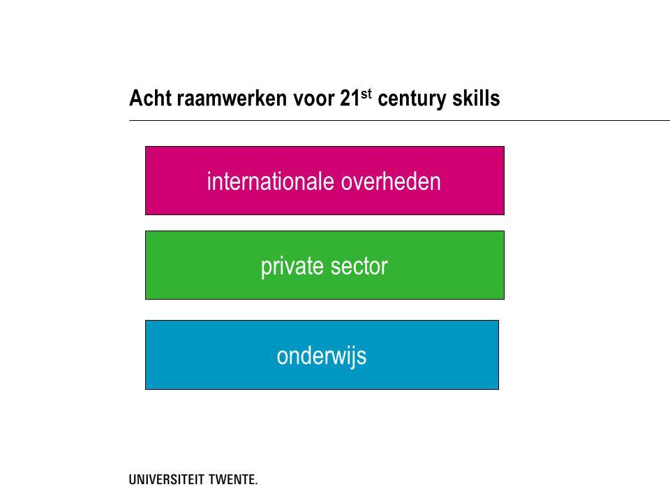 Acht raamwerken voor 21 st century skills internationale overheden private sector onderwijs