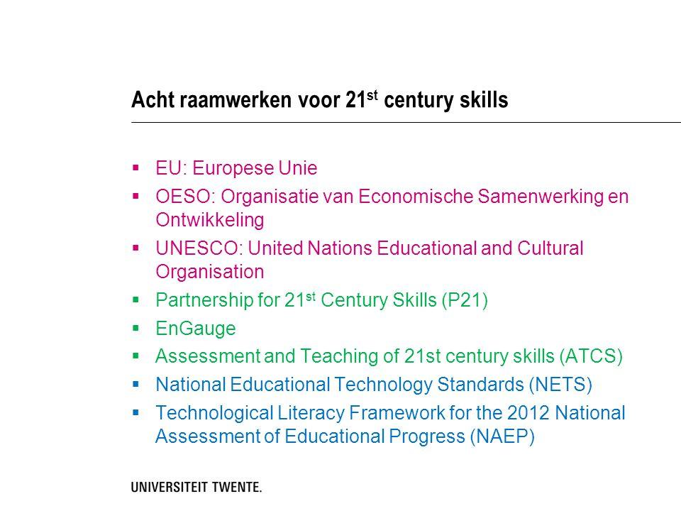 Acht raamwerken voor 21 st century skills  EU: Europese Unie  OESO: Organisatie van Economische Samenwerking en Ontwikkeling  UNESCO: United Nation