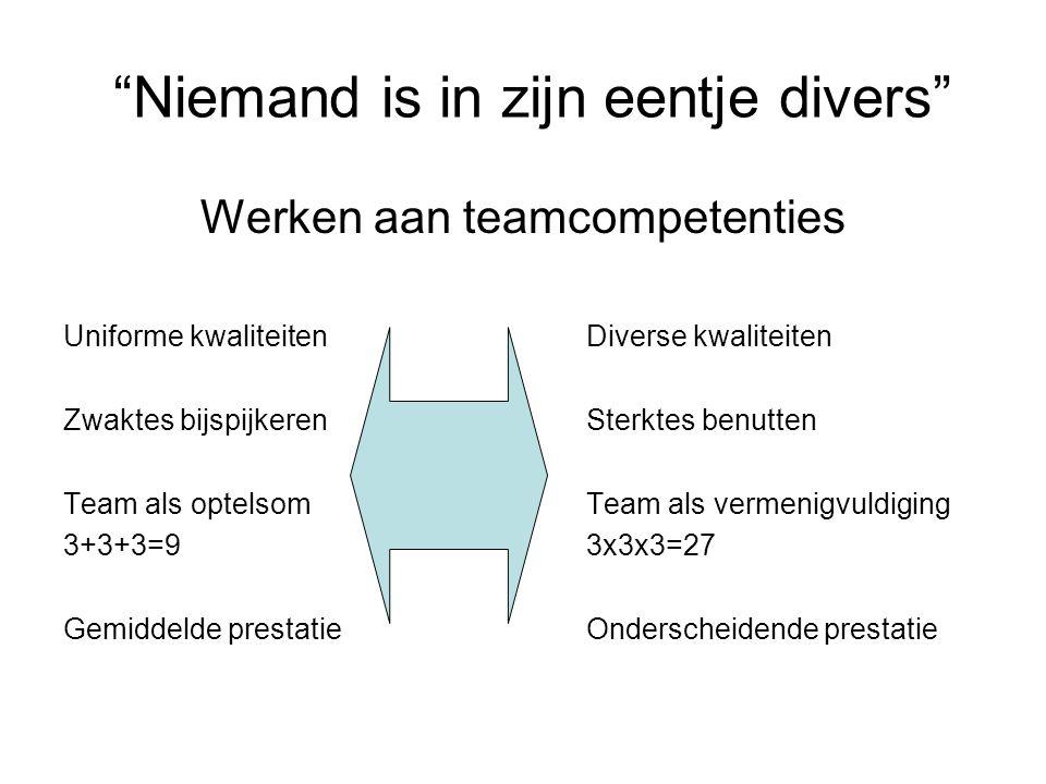 """""""Niemand is in zijn eentje divers"""" Werken aan teamcompetenties Uniforme kwaliteitenDiverse kwaliteiten Zwaktes bijspijkerenSterktes benutten Team als"""