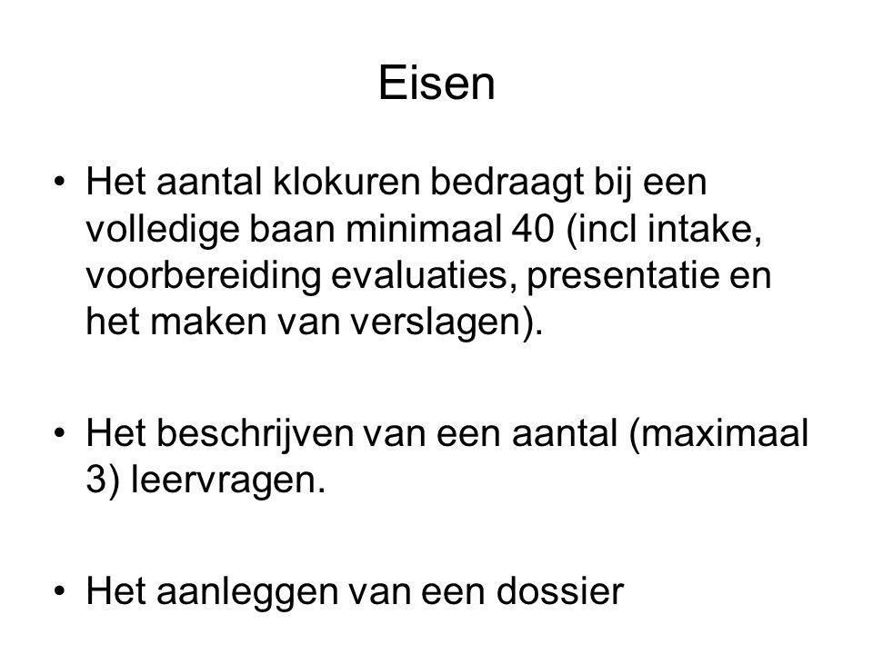 Eisen Het aantal klokuren bedraagt bij een volledige baan minimaal 40 (incl intake, voorbereiding evaluaties, presentatie en het maken van verslagen).