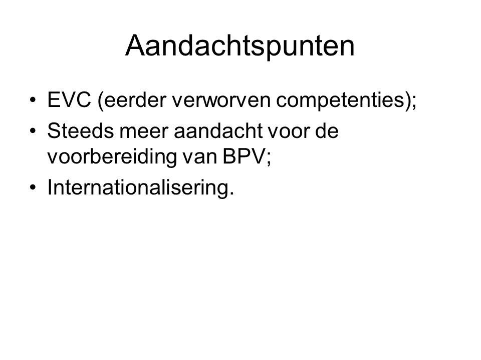 Aandachtspunten EVC (eerder verworven competenties); Steeds meer aandacht voor de voorbereiding van BPV; Internationalisering.