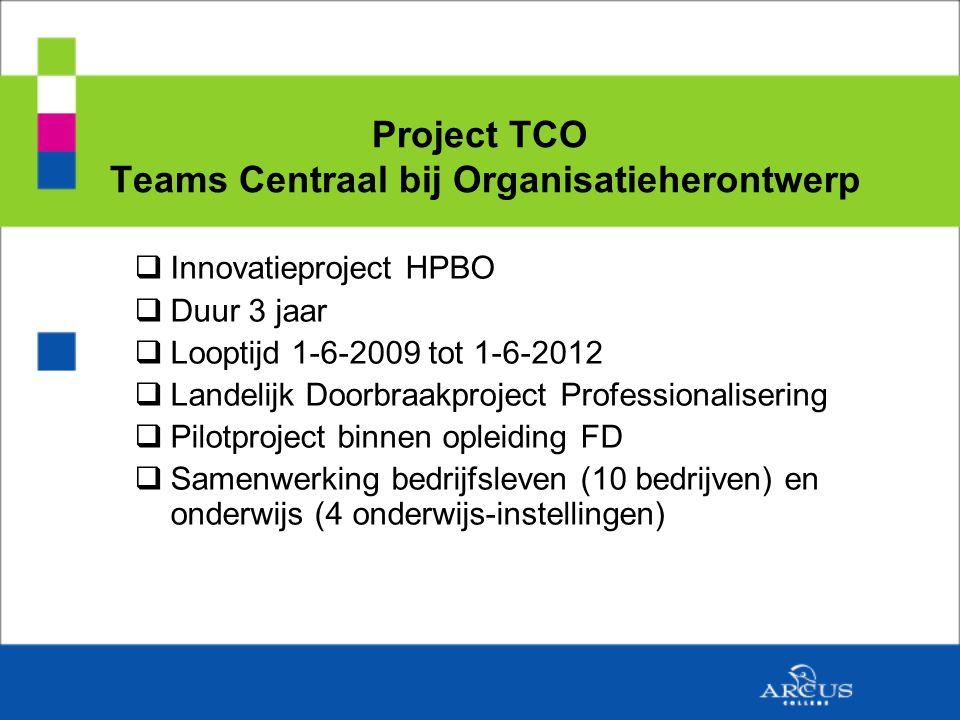 Project TCO Teams Centraal bij Organisatieherontwerp  Innovatieproject HPBO  Duur 3 jaar  Looptijd 1-6-2009 tot 1-6-2012  Landelijk Doorbraakproject Professionalisering  Pilotproject binnen opleiding FD  Samenwerking bedrijfsleven (10 bedrijven) en onderwijs (4 onderwijs-instellingen)