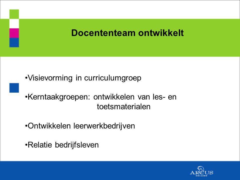 Docententeam ontwikkelt Visievorming in curriculumgroep Kerntaakgroepen: ontwikkelen van les- en toetsmaterialen Ontwikkelen leerwerkbedrijven Relatie bedrijfsleven