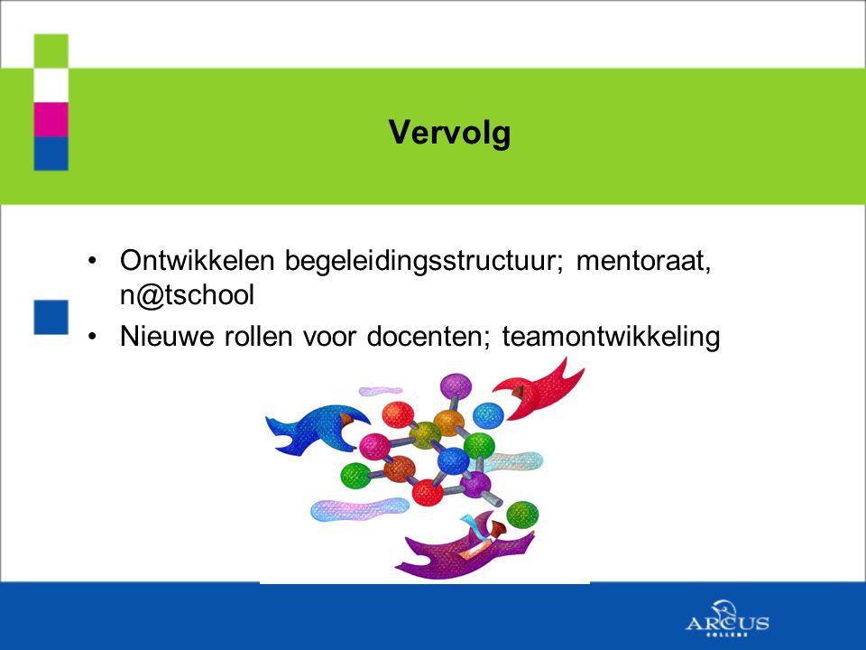 Vervolg Ontwikkelen begeleidingsstructuur; mentoraat, n@tschool Nieuwe rollen voor docenten; teamontwikkeling