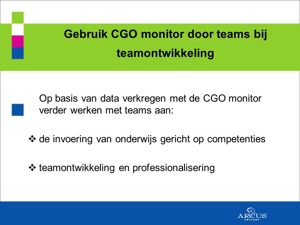 Gebruik CGO monitor door teams bij teamontwikkeling Op basis van data verkregen met de CGO monitor verder werken met teams aan:  de invoering van onderwijs gericht op competenties  teamontwikkeling en professionalisering