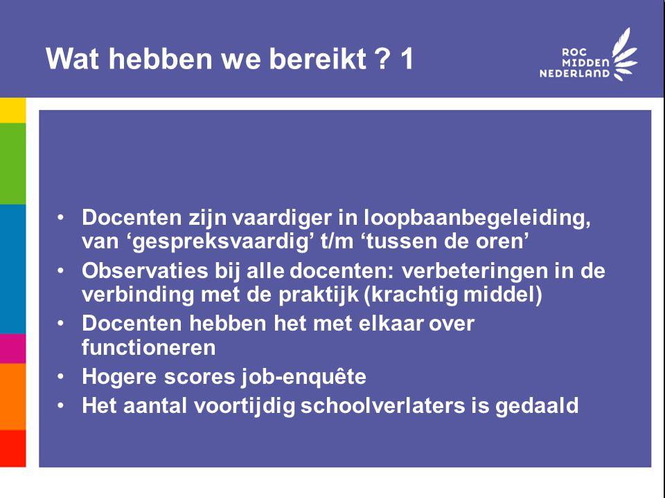 Wat hebben we bereikt ? 1 Docenten zijn vaardiger in loopbaanbegeleiding, van 'gespreksvaardig' t/m 'tussen de oren' Observaties bij alle docenten: ve