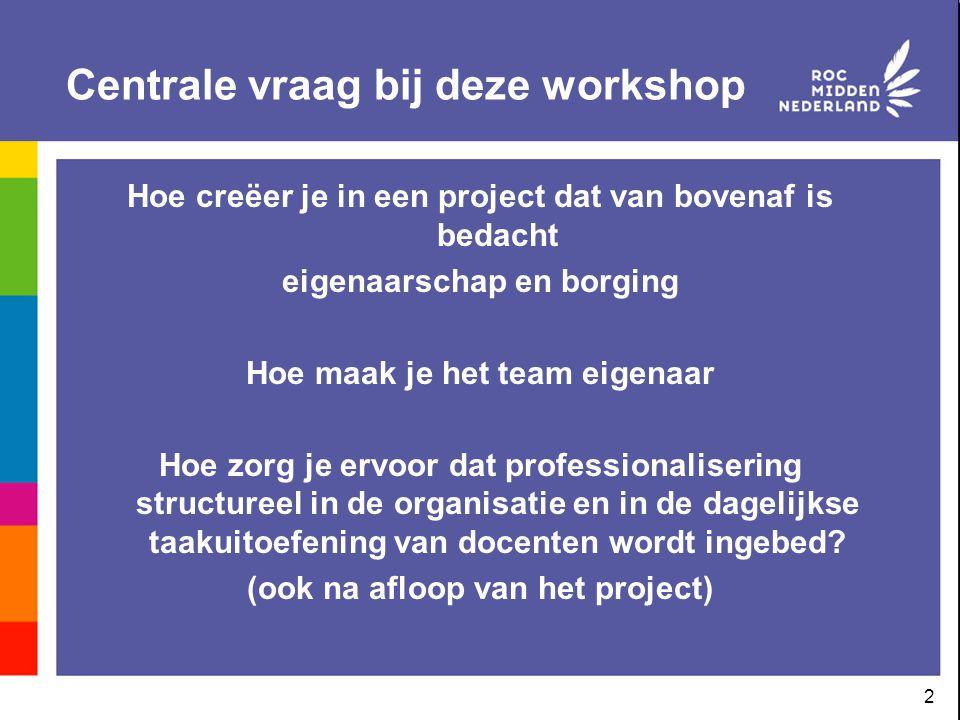 2 Centrale vraag bij deze workshop Hoe creëer je in een project dat van bovenaf is bedacht eigenaarschap en borging Hoe maak je het team eigenaar Hoe
