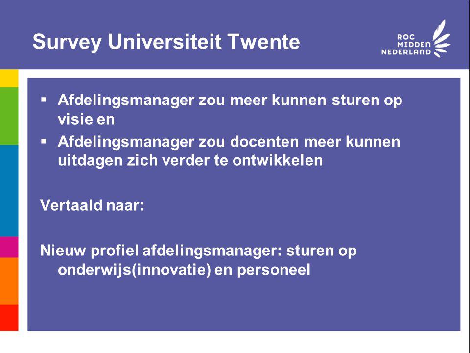 Survey Universiteit Twente  Afdelingsmanager zou meer kunnen sturen op visie en  Afdelingsmanager zou docenten meer kunnen uitdagen zich verder te o
