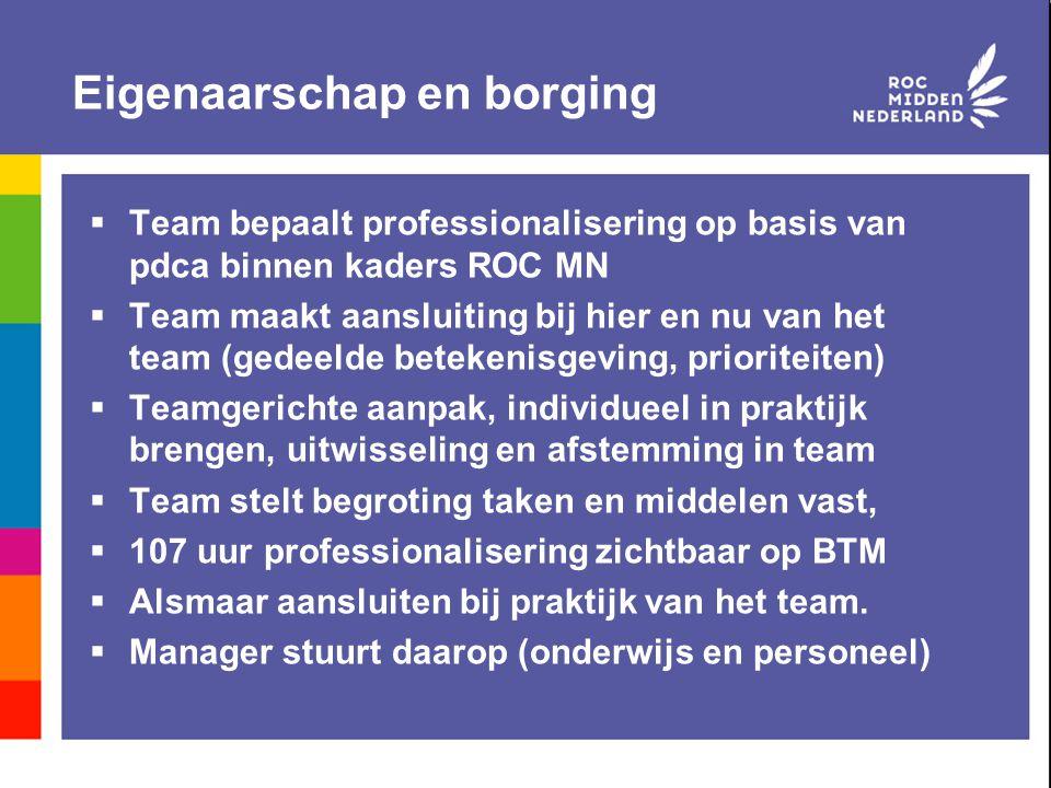 Eigenaarschap en borging  Team bepaalt professionalisering op basis van pdca binnen kaders ROC MN  Team maakt aansluiting bij hier en nu van het tea