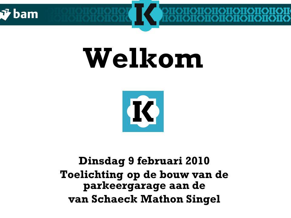 Welkom Dinsdag 9 februari 2010 Toelichting op de bouw van de parkeergarage aan de van Schaeck Mathon Singel