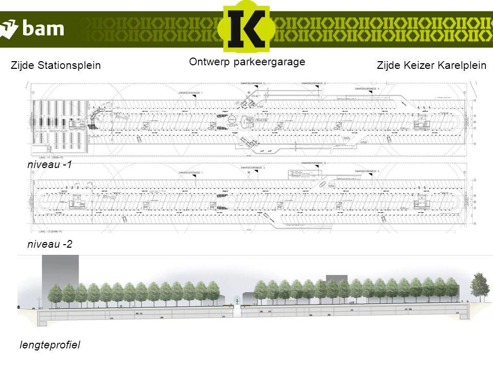 niveau -1 niveau -2 lengteprofiel StationszijdeZijde Keizer Karelplein Ontwerp parkeergarage Zijde Stationsplein