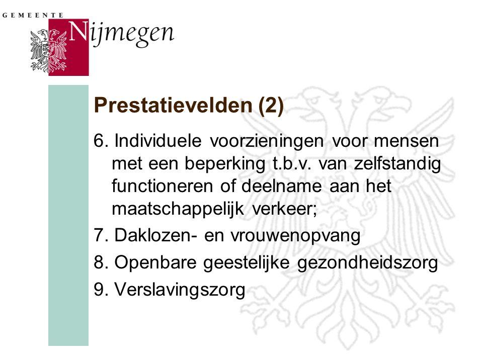 Prestatievelden (2) 6. Individuele voorzieningen voor mensen met een beperking t.b.v.