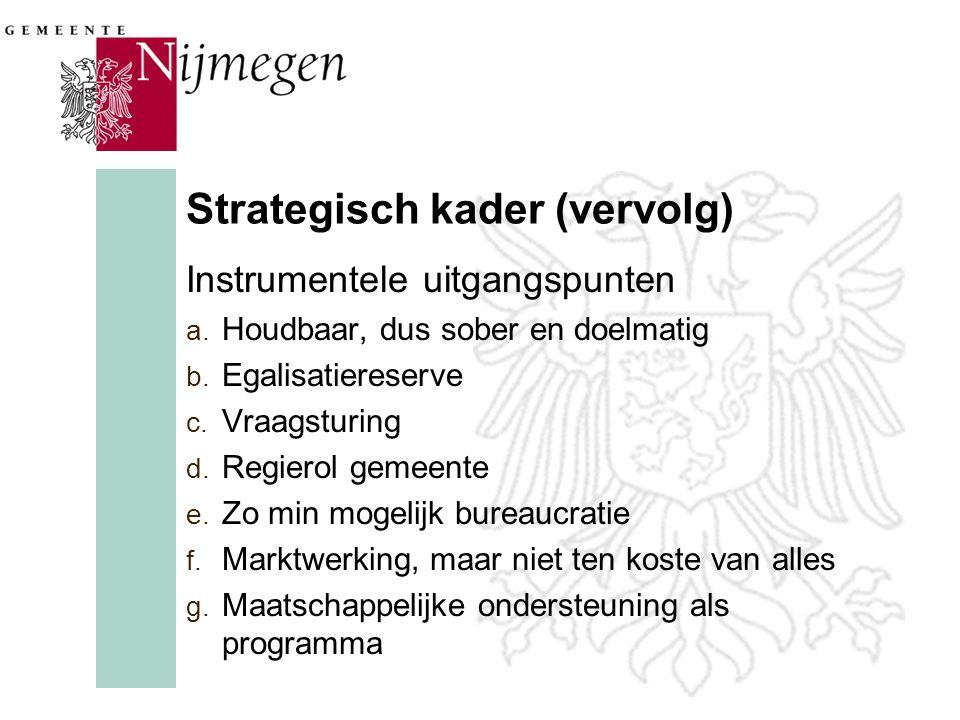 Strategisch kader (vervolg) Instrumentele uitgangspunten a.