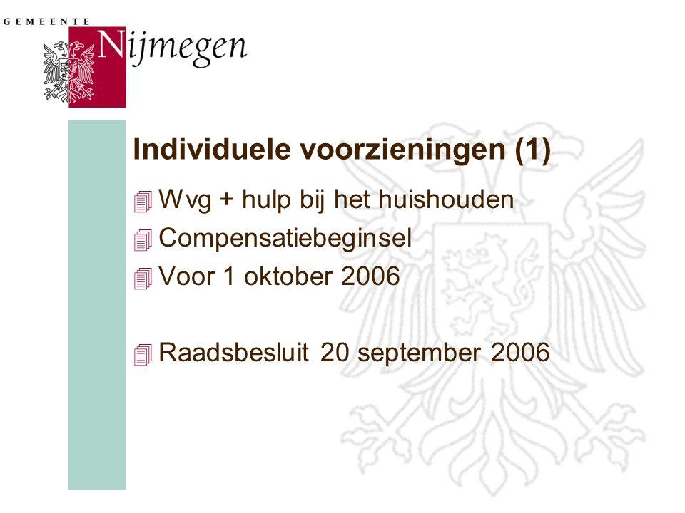 Individuele voorzieningen (1) 4 Wvg + hulp bij het huishouden 4 Compensatiebeginsel 4 Voor 1 oktober 2006 4 Raadsbesluit 20 september 2006