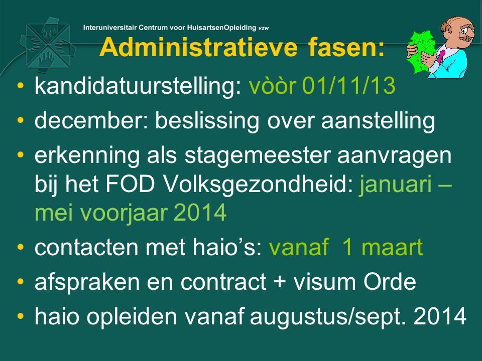 Administratieve fasen: kandidatuurstelling: vòòr 01/11/13 december: beslissing over aanstelling erkenning als stagemeester aanvragen bij het FOD Volks