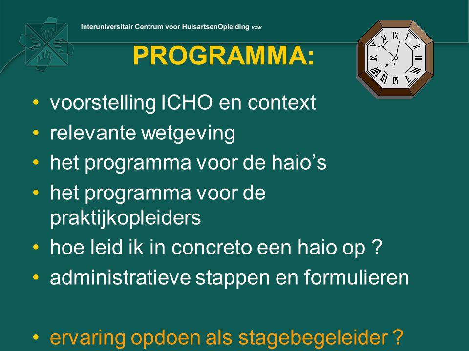 PROGRAMMA: voorstelling ICHO en context relevante wetgeving het programma voor de haio's het programma voor de praktijkopleiders hoe leid ik in concre