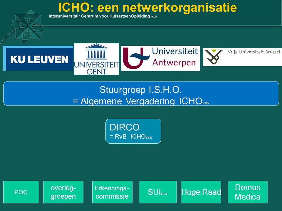 ICHO: een netwerkorganisatie POC overleg- groepen Erkennings - commissie Hoge RaadSUi vzw Stuurgroep I.S.H.O. = Algemene Vergadering ICHO vzw DIRCO =