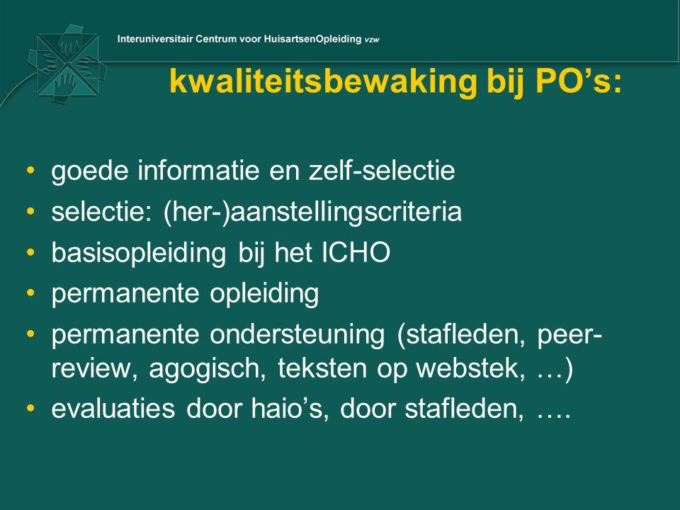 kwaliteitsbewaking bij PO's: goede informatie en zelf-selectie selectie: (her-)aanstellingscriteria basisopleiding bij het ICHO permanente opleiding p