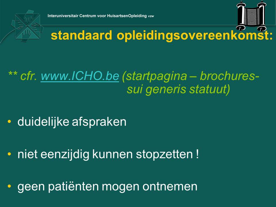 standaard opleidingsovereenkomst: ** cfr. www.ICHO.be (startpagina – brochures- sui generis statuut)www.ICHO.be duidelijke afspraken niet eenzijdig ku
