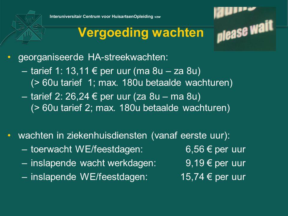 Vergoeding wachten georganiseerde HA-streekwachten: –tarief 1: 13,11 € per uur (ma 8u – za 8u) (> 60u tarief 1; max. 180u betaalde wachturen) –tarief