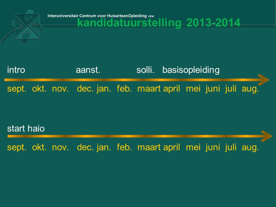 kandidatuurstelling 2013-2014 intro aanst. solli. basisopleiding sept. okt. nov. dec. jan. feb. maart april mei juni juli aug. start haio sept. okt. n