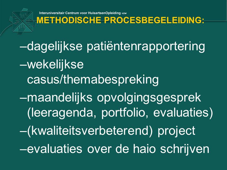 METHODISCHE PROCESBEGELEIDING: –dagelijkse patiëntenrapportering –wekelijkse casus/themabespreking –maandelijks opvolgingsgesprek (leeragenda, portfol