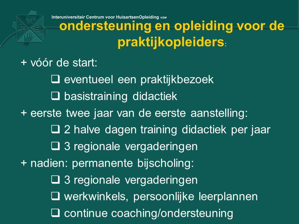 ondersteuning en opleiding voor de praktijkopleiders : + vóór de start:  eventueel een praktijkbezoek  basistraining didactiek + eerste twee jaar va