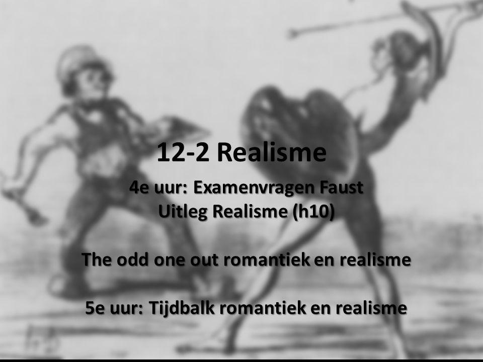 12-2 Realisme 4e uur: Examenvragen Faust Uitleg Realisme (h10) The odd one out romantiek en realisme 5e uur: Tijdbalk romantiek en realisme