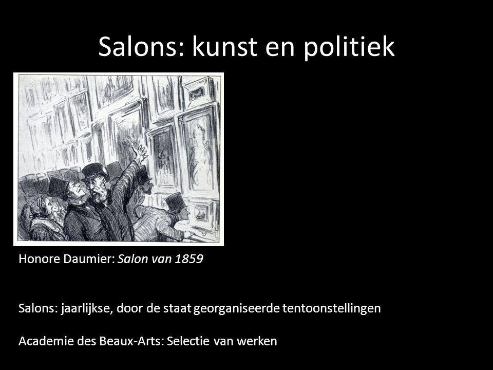 Salons: kunst en politiek Honore Daumier: Salon van 1859 Salons: jaarlijkse, door de staat georganiseerde tentoonstellingen Academie des Beaux-Arts: Selectie van werken