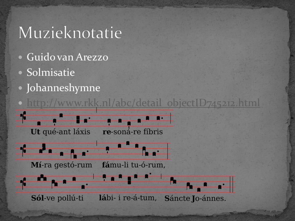 Guido van Arezzo Solmisatie Johanneshymne http://www.rkk.nl/abc/detail_objectID745212.html